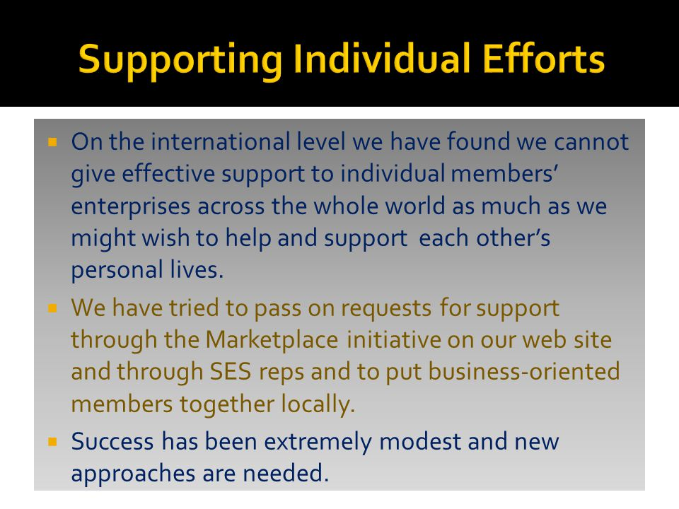  On the international level we have found we cannot give effective support to individual members' enterprises across the whole world as much as we might wish to help and support each other's personal lives.