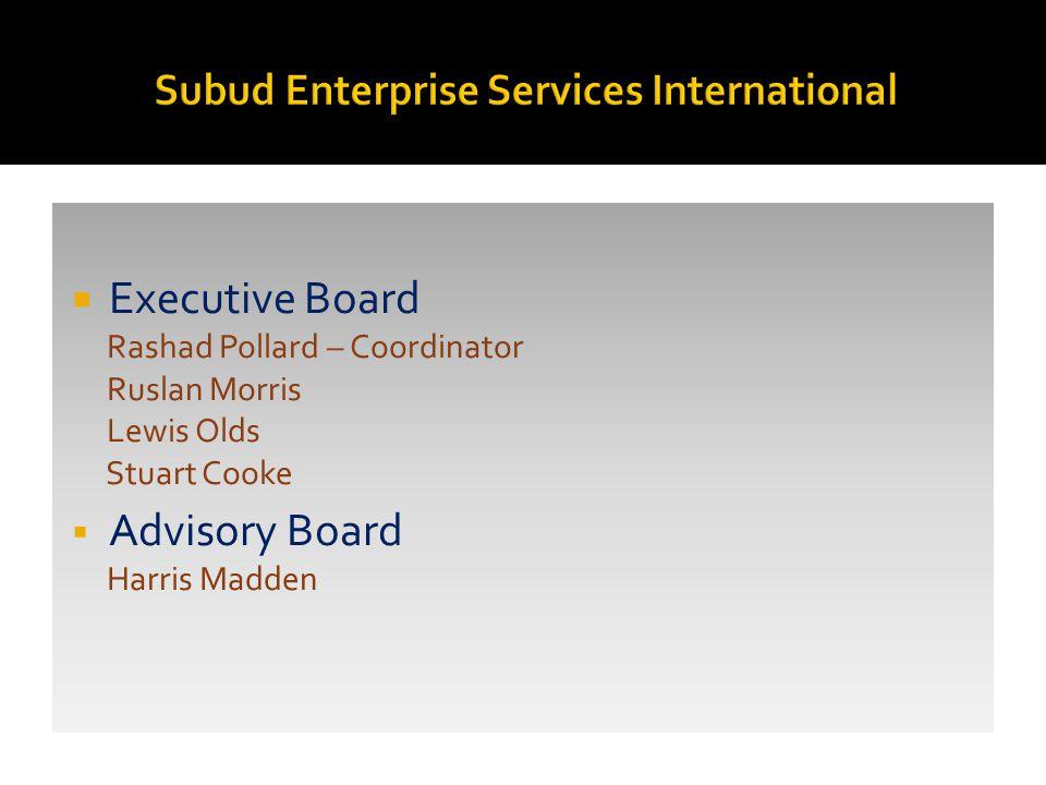  Executive Board Rashad Pollard – Coordinator Ruslan Morris Lewis Olds Stuart Cooke  Advisory Board Harris Madden