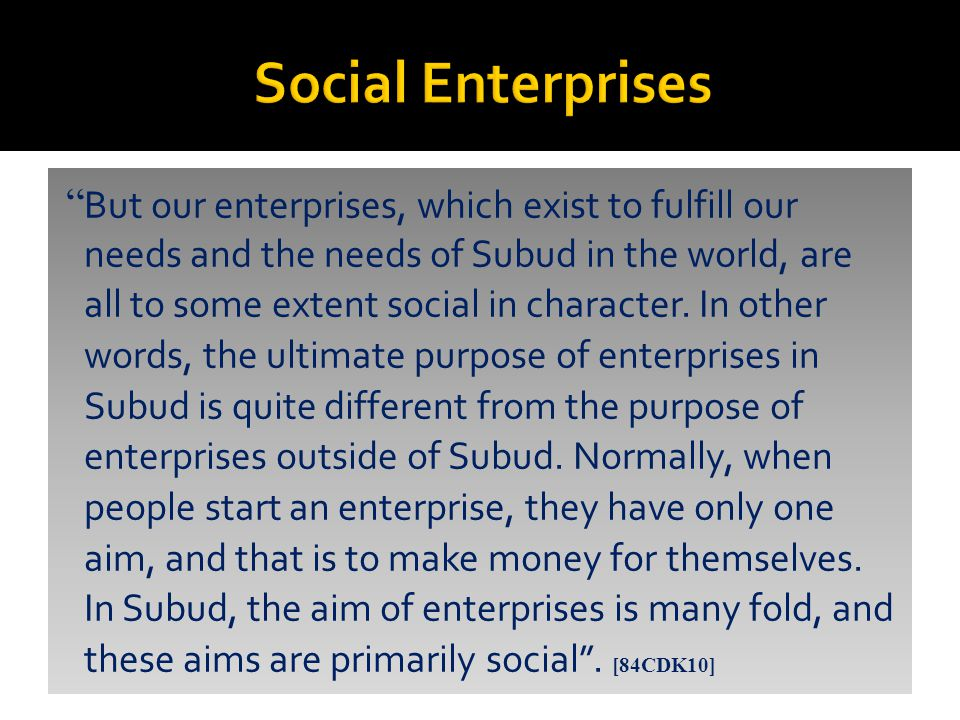 But our enterprises, which exist to fulfill our needs and the needs of Subud in the world, are all to some extent social in character.