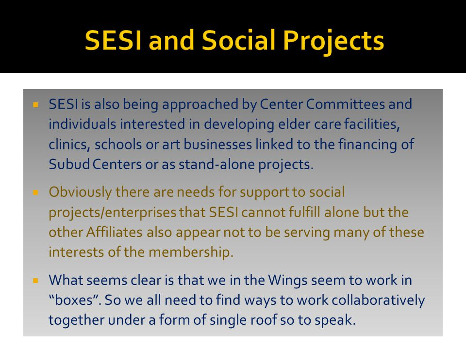  SESI is also being approached by Center Committees and individuals interested in developing elder care facilities, clinics, schools or art businesses linked to the financing of Subud Centers or as stand-alone projects.