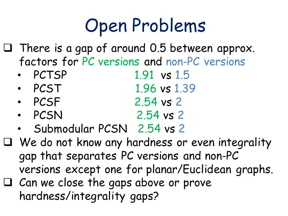 Open Problems  There is a gap of around 0.5 between approx.