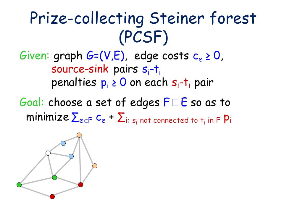 Prize-collecting Steiner forest (PCSF) Given: graph G=(V,E), edge costs c e ≥ 0, source-sink pairs s i -t i penalties p i ≥ 0 on each s i -t i pair Goal: choose a set of edges F   E so as to minimize∑ e  F c e + ∑ i: s i not connected to t i in F p i