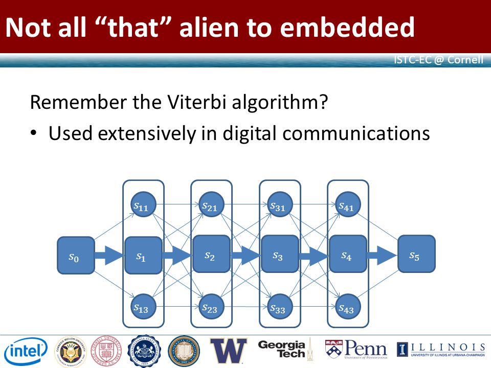 ISTC-EC @ Cornell Not all that alien to embedded Remember the Viterbi algorithm.