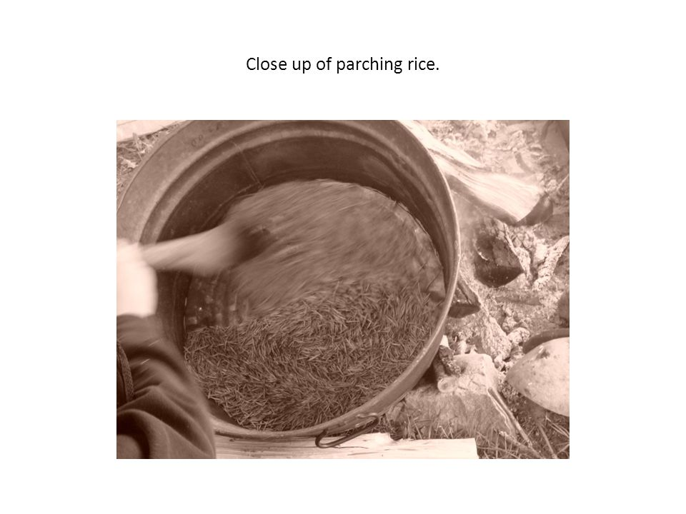 Close up of parching rice.
