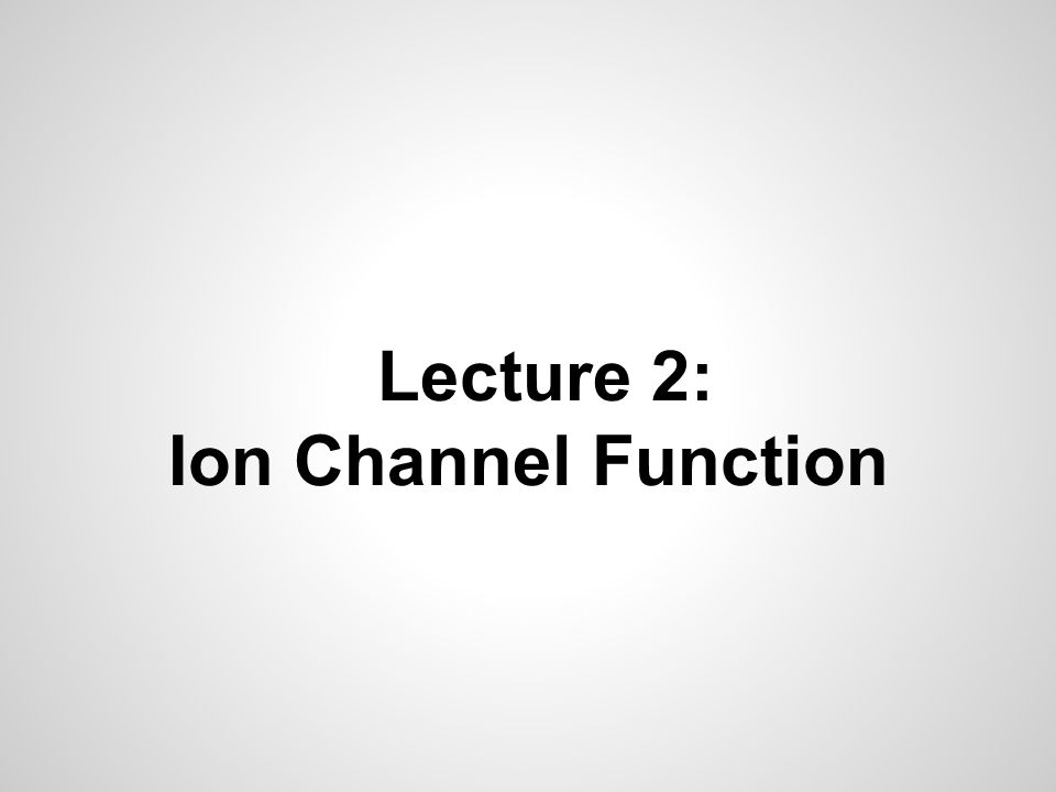 Lecture 2: Ion Channel Function