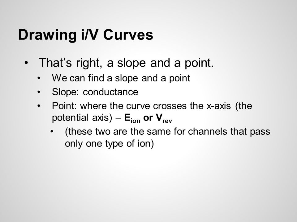 Drawing i/V Curves That's right, a slope and a point.