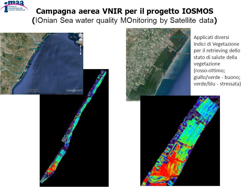 Campagna aerea VNIR per il progetto IOSMOS ( IOnian Sea water quality MOnitoring by Satellite data ) Applicati diversi Indici di Vegetazione per il retrieving dello stato di salute della vegetazione (rosso-ottimo; giallo/verde - buono; verde/blu - stressata)