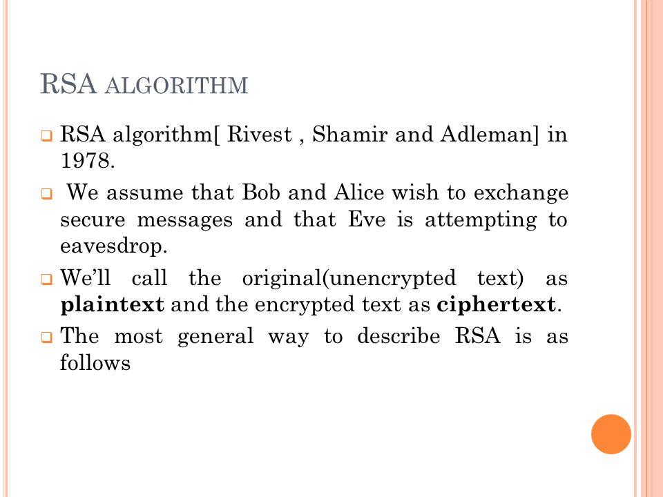 RSA ALGORITHM  RSA algorithm[ Rivest, Shamir and Adleman] in 1978.