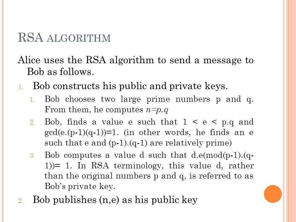 RSA ALGORITHM Alice uses the RSA algorithm to send a message to Bob as follows.