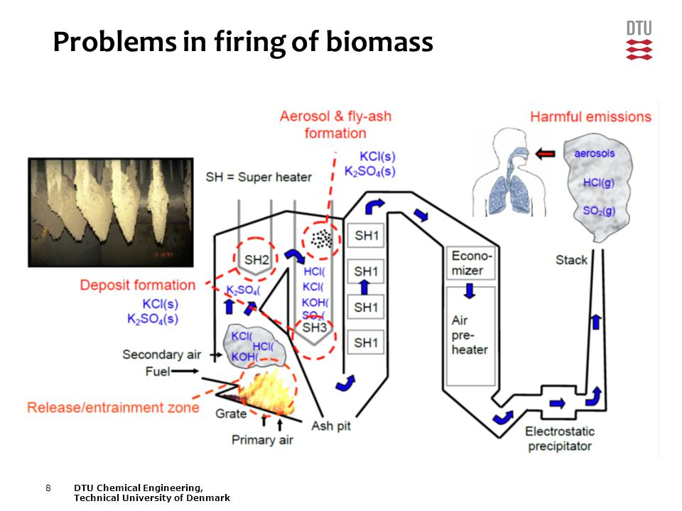 8DTU Chemical Engineering, Technical University of Denmark Problems in firing of biomass