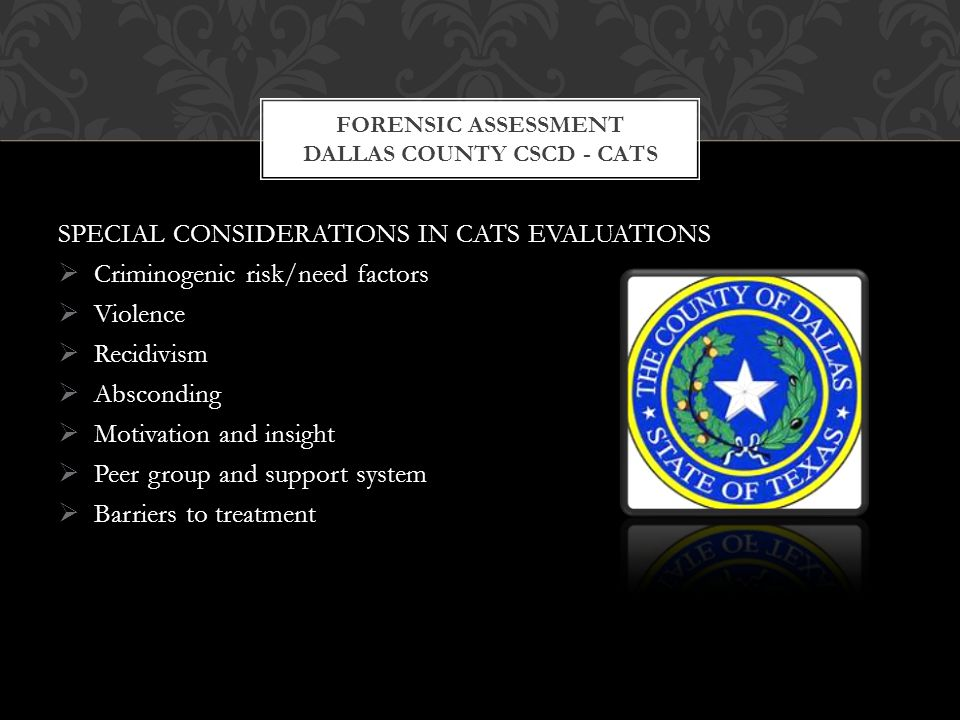 SPECIAL CONSIDERATIONS IN CATS EVALUATIONS  Criminogenic risk/need factors  Violence  Recidivism  Absconding  Motivation and insight  Peer group