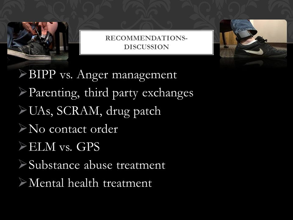  BIPP vs. Anger management  Parenting, third party exchanges  UAs, SCRAM, drug patch  No contact order  ELM vs. GPS  Substance abuse treatment 