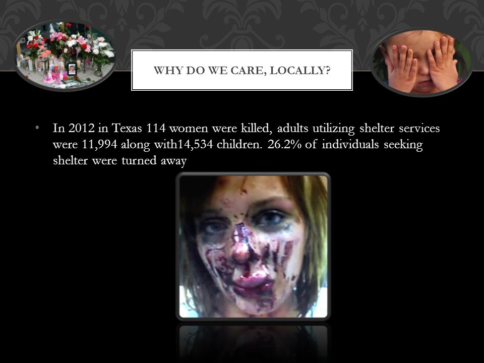 WHY DO WE CARE, LOCALLY? In 2012 in Texas 114 women were killed, adults utilizing shelter services were 11,994 along with14,534 children. 26.2% of ind