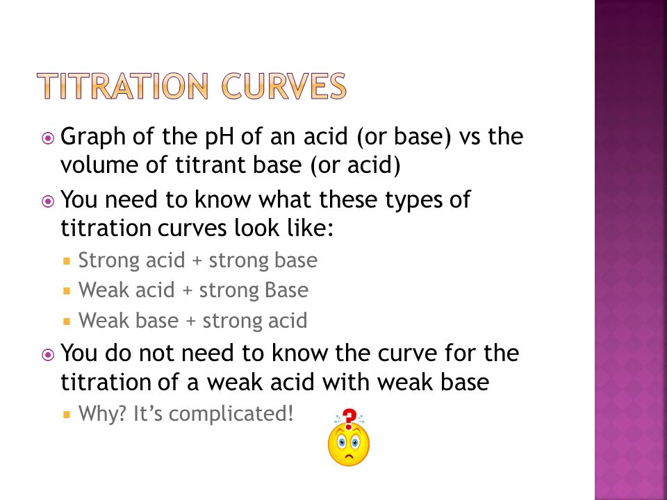  Graph of the pH of an acid (or base) vs the volume of titrant base (or acid)  You need to know what these types of titration curves look like:  Strong acid + strong base  Weak acid + strong Base  Weak base + strong acid  You do not need to know the curve for the titration of a weak acid with weak base  Why.