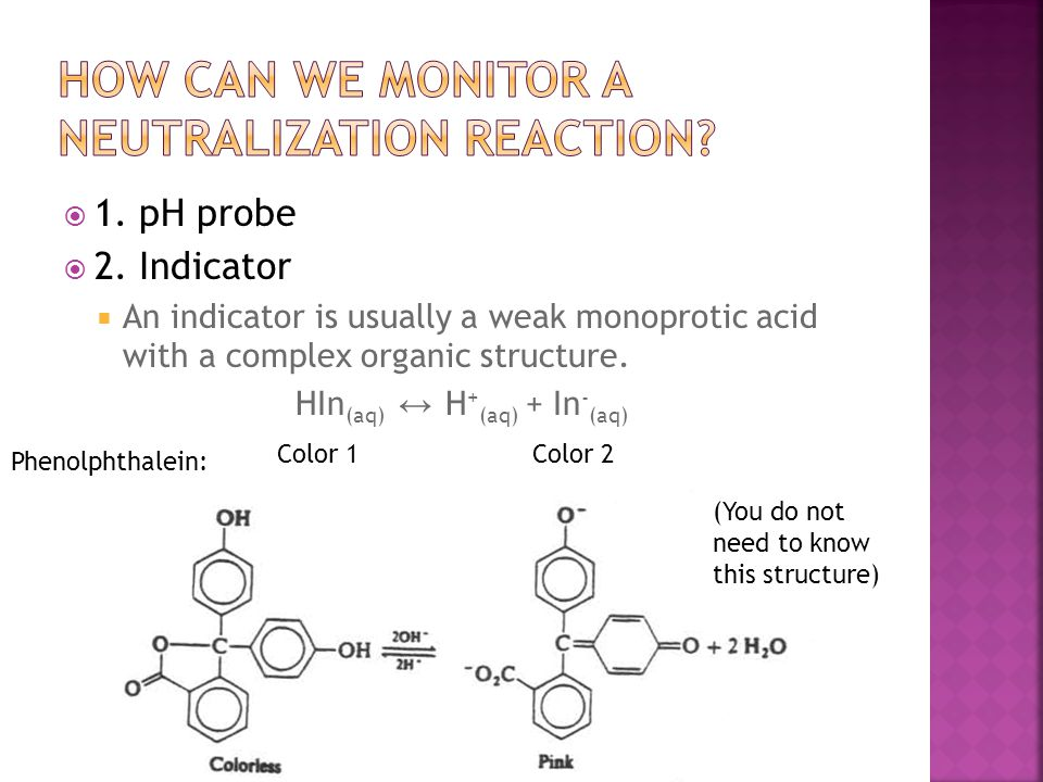  1. pH probe  2. Indicator  An indicator is usually a weak monoprotic acid with a complex organic structure. HIn (aq) ↔ H + (aq) + In - (aq) Color