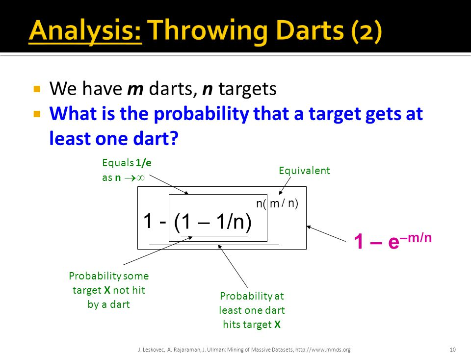  We have m darts, n targets  What is the probability that a target gets at least one dart.