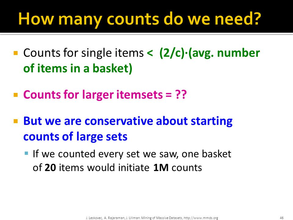  Counts for single items < (2/c)∙(avg.