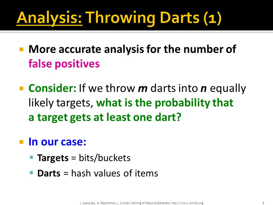  More accurate analysis for the number of false positives  Consider: If we throw m darts into n equally likely targets, what is the probability that a target gets at least one dart.