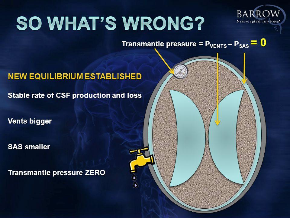 Transmantle pressure = P VENTS – P SAS = 0 NEW EQUILIBRIUM ESTABLISHED Stable rate of CSF production and loss Vents bigger SAS smaller Transmantle pressure ZERO