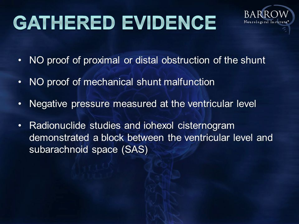 NO proof of proximal or distal obstruction of the shuntNO proof of proximal or distal obstruction of the shunt NO proof of mechanical shunt malfunctionNO proof of mechanical shunt malfunction Negative pressure measured at the ventricular levelNegative pressure measured at the ventricular level Radionuclide studies and iohexol cisternogram demonstrated a block between the ventricular level and subarachnoid space (SAS)Radionuclide studies and iohexol cisternogram demonstrated a block between the ventricular level and subarachnoid space (SAS)