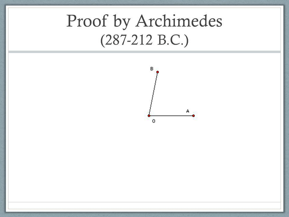 Proof by Archimedes (287-212 B.C.)