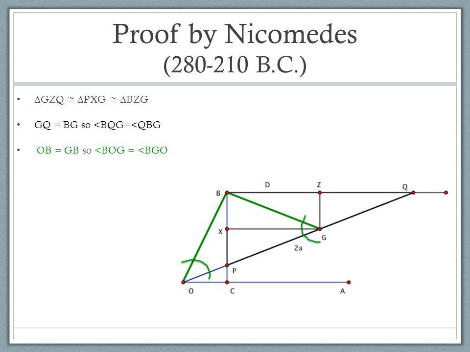 Proof by Nicomedes (280-210 B.C.) ∆GZQ ≅ ∆PXG ≅ ∆BZG GQ = BG so <BQG=<QBG OB = GB so <BOG = <BGO