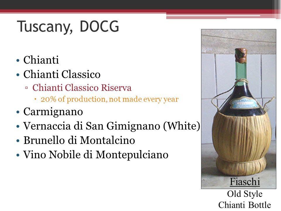 Tuscany, DOCG Chianti Chianti Classico ▫Chianti Classico Riserva  20% of production, not made every year Carmignano Vernaccia di San Gimignano (White) Brunello di Montalcino Vino Nobile di Montepulciano Fiaschi Old Style Chianti Bottle