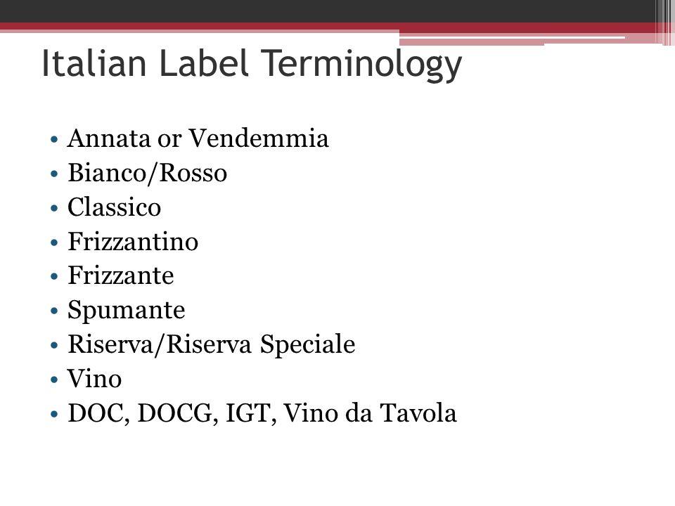 Italian Label Terminology Annata or Vendemmia Bianco/Rosso Classico Frizzantino Frizzante Spumante Riserva/Riserva Speciale Vino DOC, DOCG, IGT, Vino da Tavola