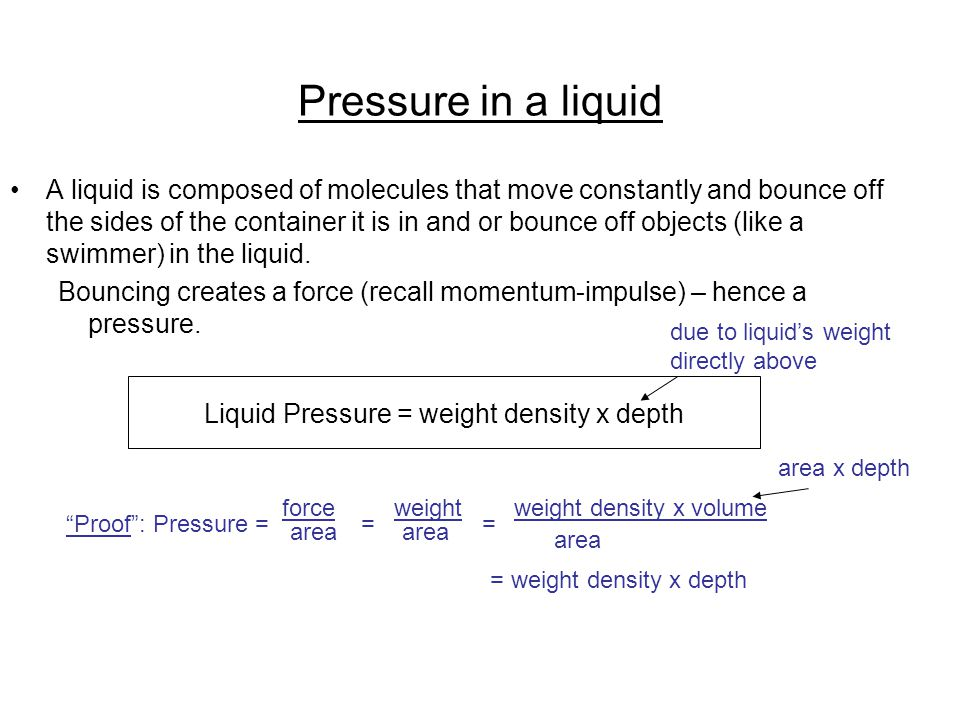 Pressure in a liquid A liquid is composed of molecules that move constantly and bounce off the sides of the container it is in and or bounce off objec