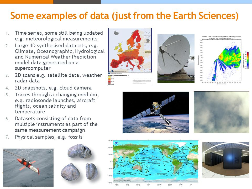 Some examples of data (just from the Earth Sciences) 1.