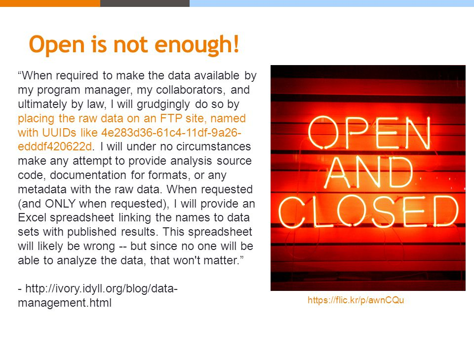 Open is not enough.