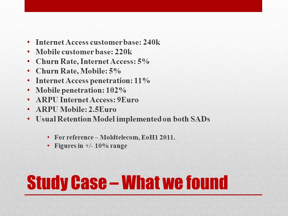 Study Case – What we found Internet Access customer base: 240k Mobile customer base: 220k Churn Rate, Internet Access: 5% Churn Rate, Mobile: 5% Inter