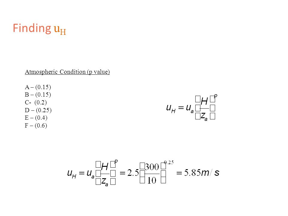 Finding u H Atmospheric Condition (p value) A – (0.15) B – (0.15) C- (0.2) D – (0.25) E – (0.4) F – (0.6)