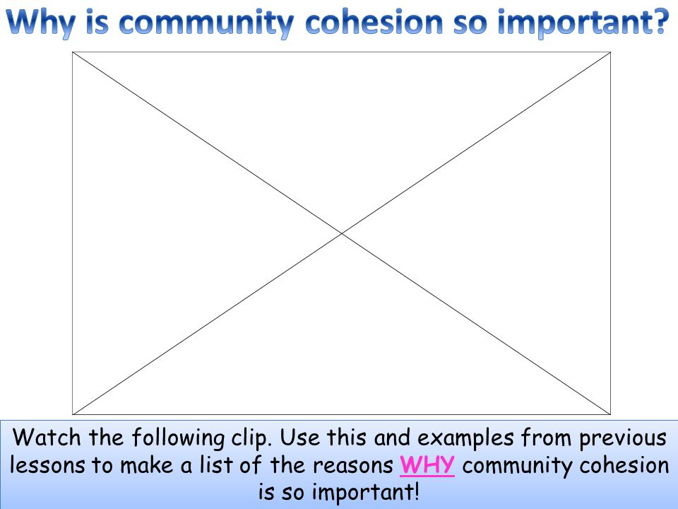 Watch the following clip. Use this and examples from previous lessons to make a list of the reasons WHY community cohesion is so important!