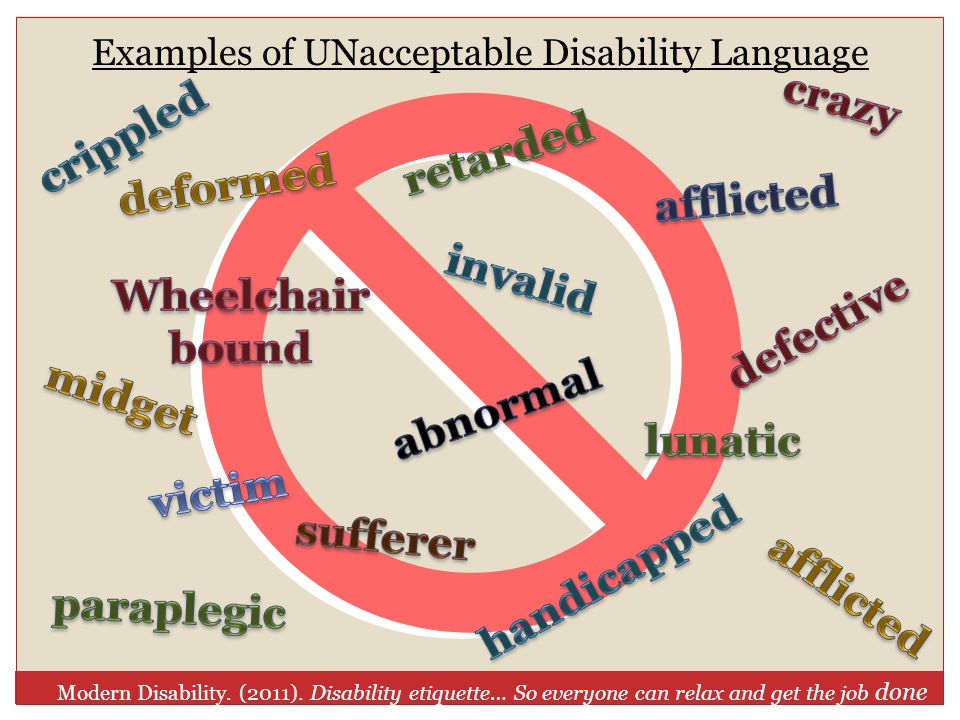 Examples of UNacceptable Disability Language Modern Disability.