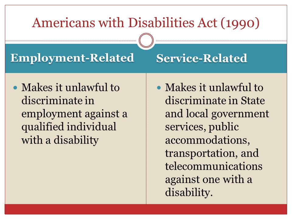 Employment-Related Service-Related Makes it unlawful to discriminate in employment against a qualified individual with a disability Makes it unlawful to discriminate in State and local government services, public accommodations, transportation, and telecommunications against one with a disability.
