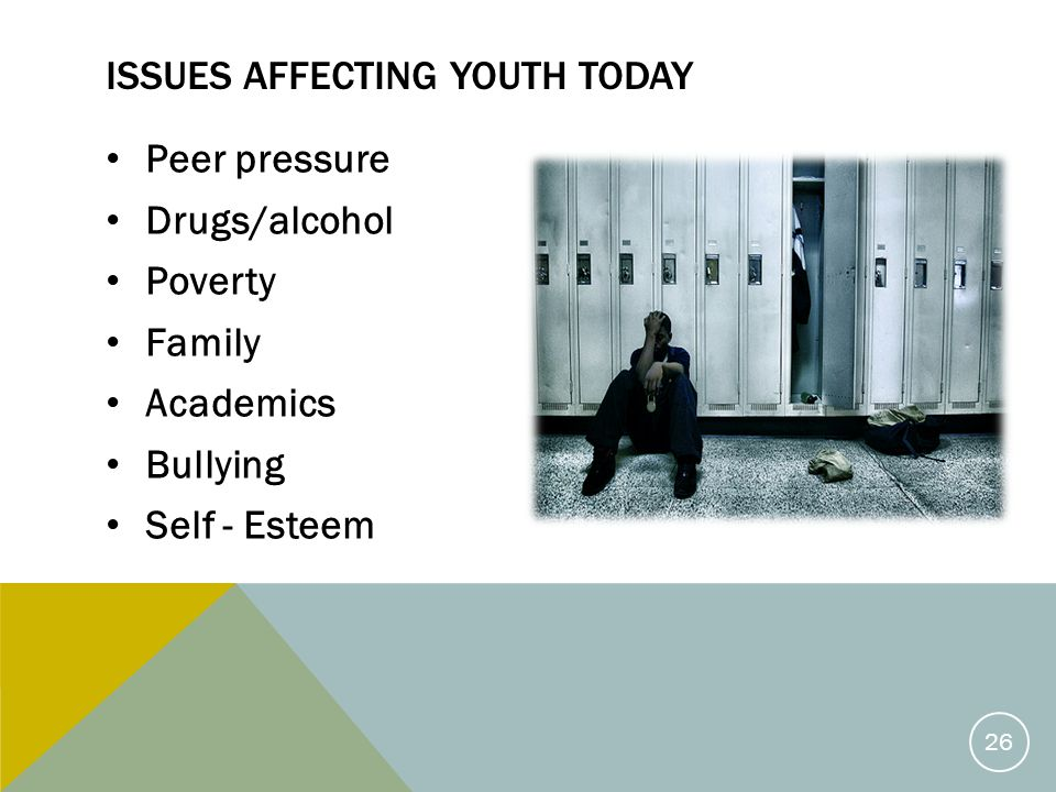 ISSUES AFFECTING YOUTH TODAY Peer pressure Drugs/alcohol Poverty Family Academics Bullying Self - Esteem 26