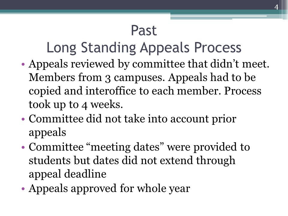Past Long Standing Appeals Process Appeals reviewed by committee that didn't meet.