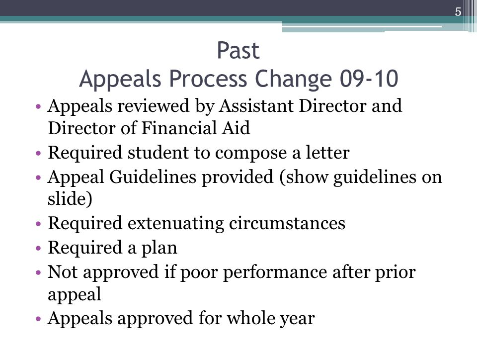 Past Appeals Process Change 09-10 Appeals reviewed by Assistant Director and Director of Financial Aid Required student to compose a letter Appeal Guidelines provided (show guidelines on slide) Required extenuating circumstances Required a plan Not approved if poor performance after prior appeal Appeals approved for whole year 5