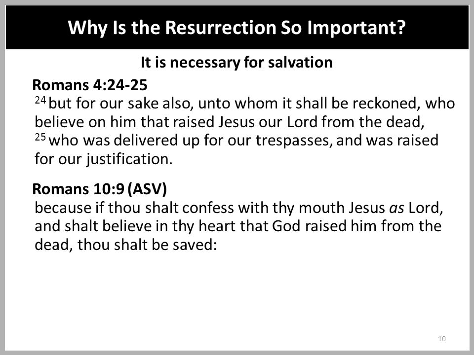 It is necessary for salvation Romans 4:24-25 24 but for our sake also, unto whom it shall be reckoned, who believe on him that raised Jesus our Lord from the dead, 25 who was delivered up for our trespasses, and was raised for our justification.