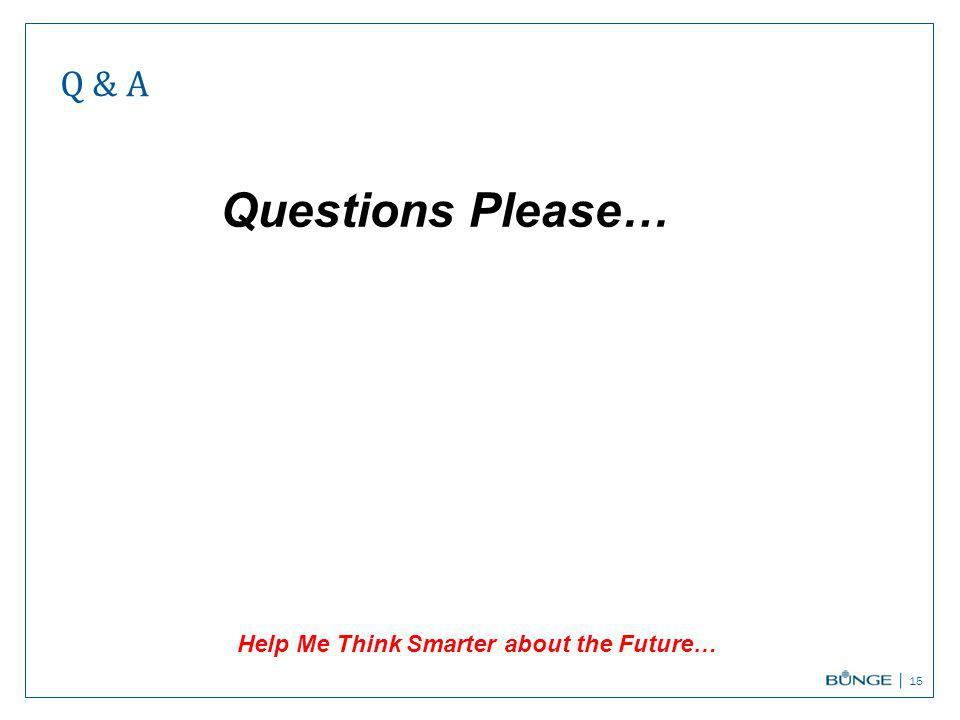 Q & A 15 Help Me Think Smarter about the Future… Questions Please…
