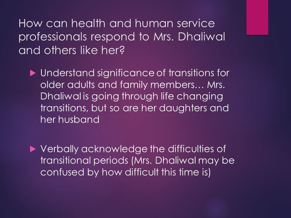 How can health and human service professionals respond to Mrs.