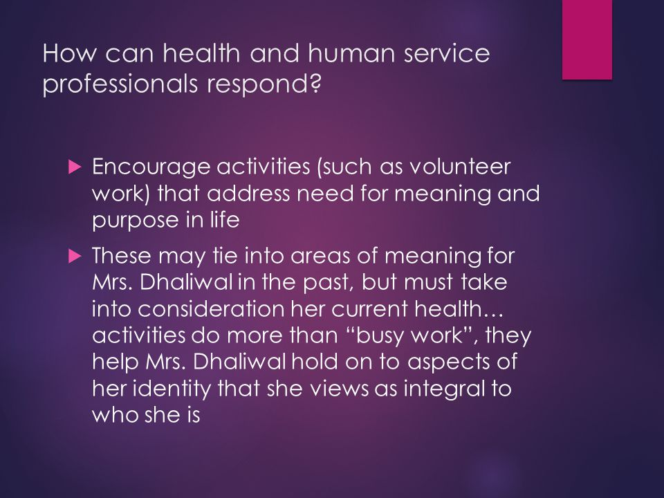 How can health and human service professionals respond.