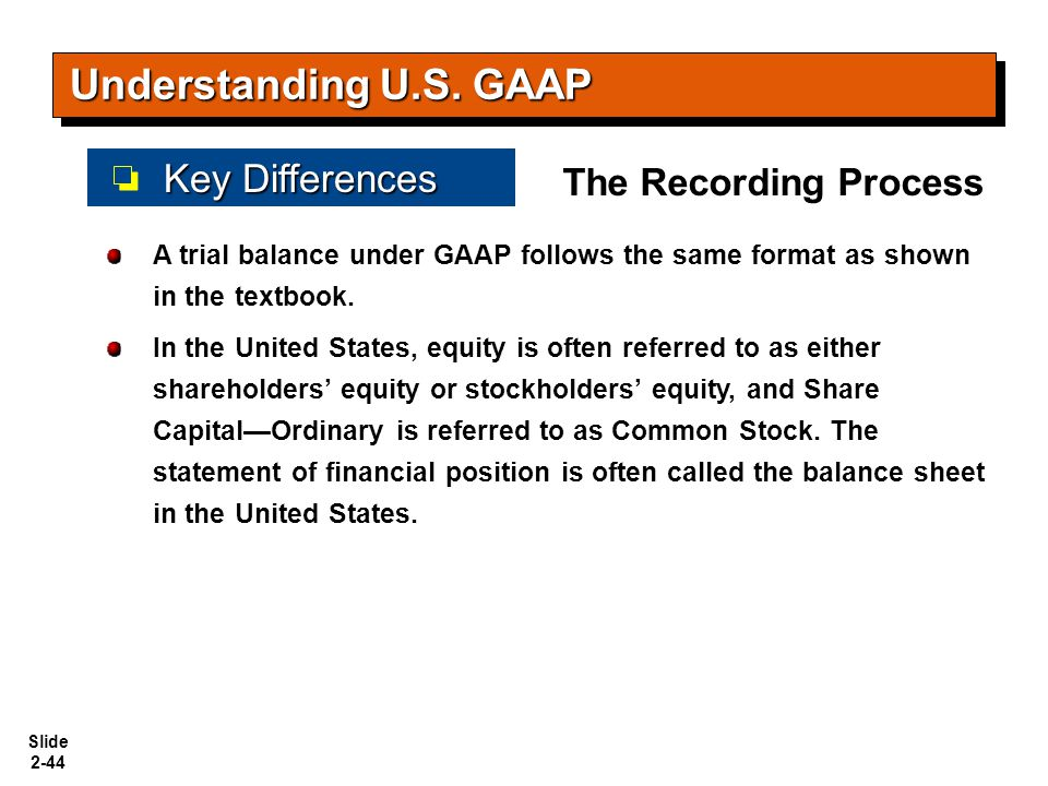 Slide 2-44 A trial balance under GAAP follows the same format as shown in the textbook. In the United States, equity is often referred to as either sh