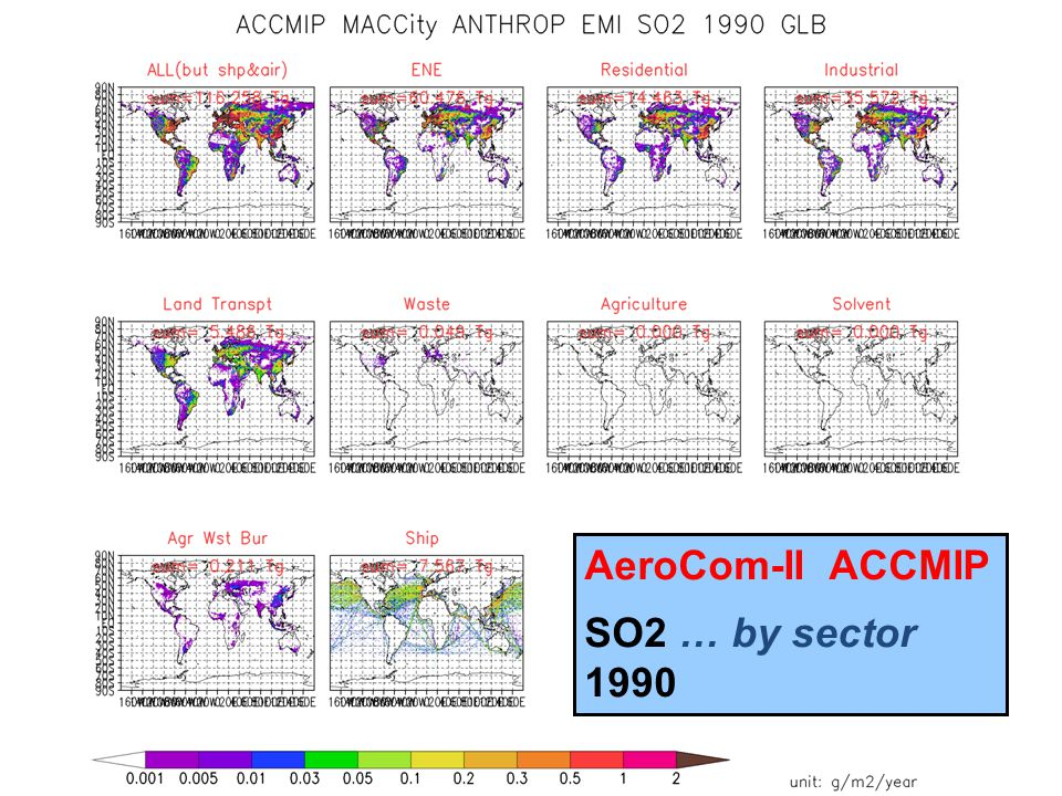 In MACCity: slv=agr=0 AeroCom-II ACCMIP SO2 … by sector 1990