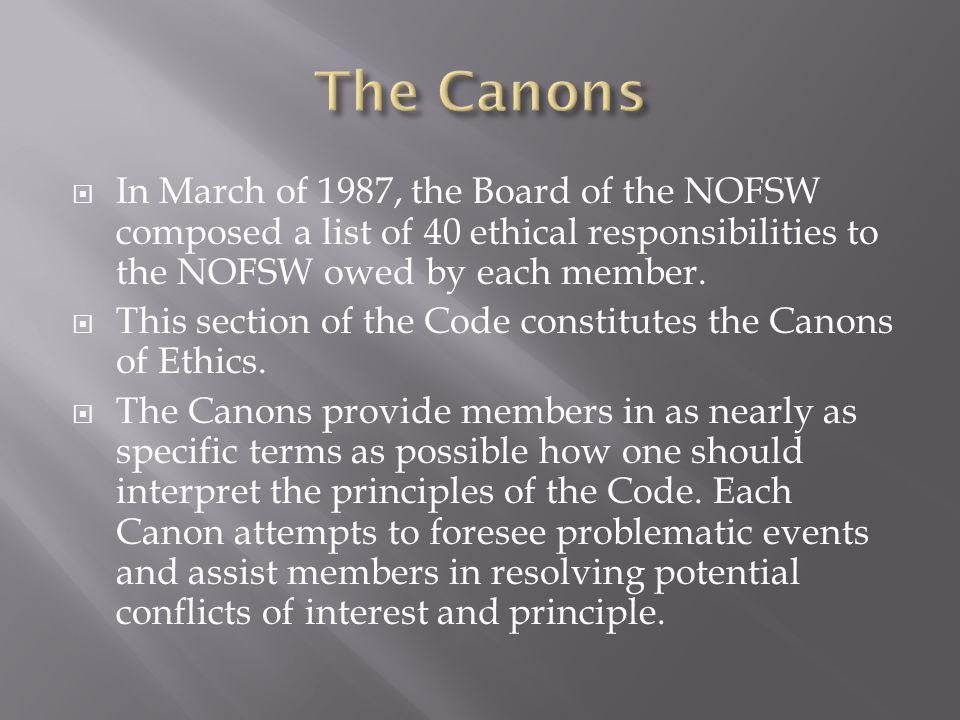  In March of 1987, the Board of the NOFSW composed a list of 40 ethical responsibilities to the NOFSW owed by each member.