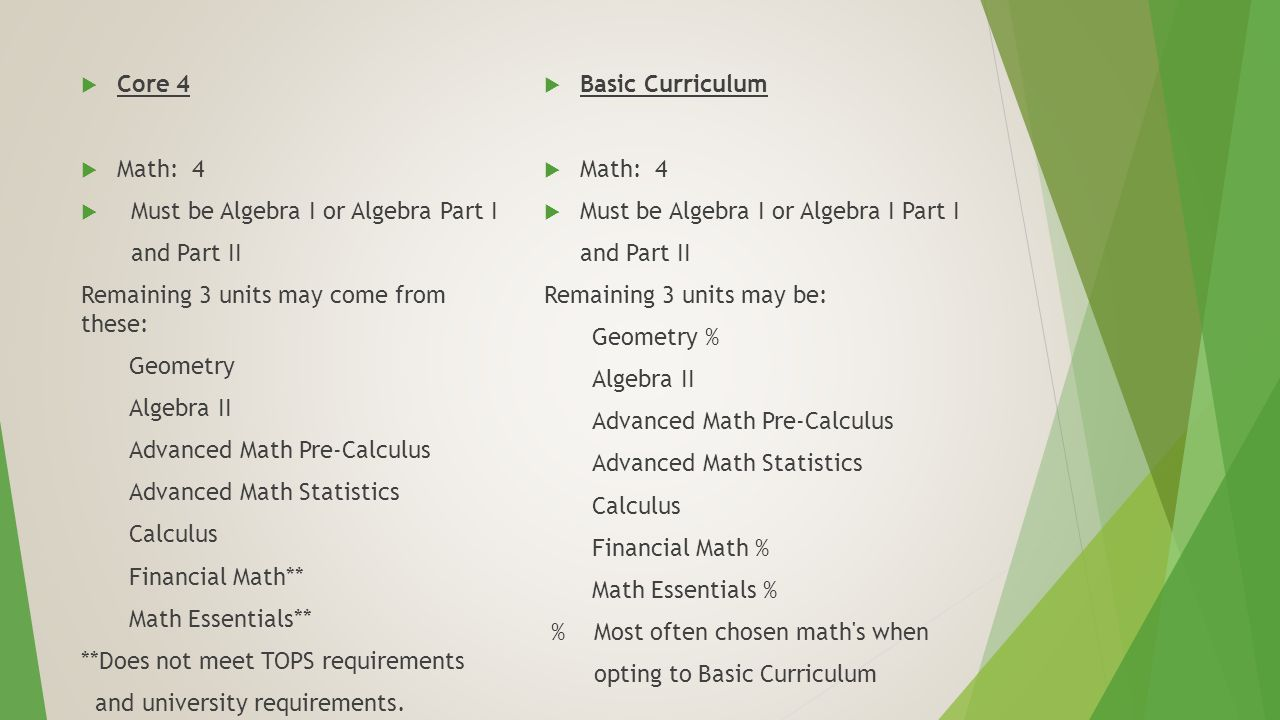  Core 4  Math: 4  Must be Algebra I or Algebra Part I and Part II Remaining 3 units may come from these: Geometry Algebra II Advanced Math Pre-Calculus Advanced Math Statistics Calculus Financial Math** Math Essentials** **Does not meet TOPS requirements and university requirements.