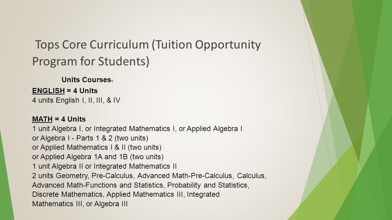 Tops Core Curriculum (Tuition Opportunity Program for Students) Units Courses 1 ENGLISH = 4 Units 4 units English I, II, III, & IV MATH = 4 Units 1 unit Algebra I, or Integrated Mathematics I, or Applied Algebra I or Algebra I - Parts 1 & 2 (two units) or Applied Mathematics I & II (two units) or Applied Algebra 1A and 1B (two units) 1 unit Algebra II or Integrated Mathematics II 2 units Geometry, Pre-Calculus, Advanced Math-Pre-Calculus, Calculus, Advanced Math-Functions and Statistics, Probability and Statistics, Discrete Mathematics, Applied Mathematics III, Integrated Mathematics III, or Algebra III