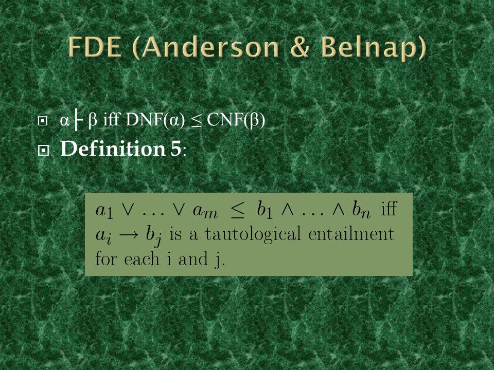  α├ β iff DNF(α) ≤ CNF(β)  Definition 5 :