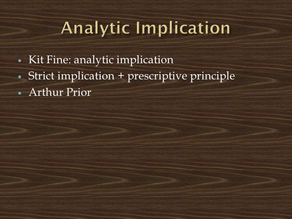 Kit Fine: analytic implication Strict implication + prescriptive principle Arthur Prior